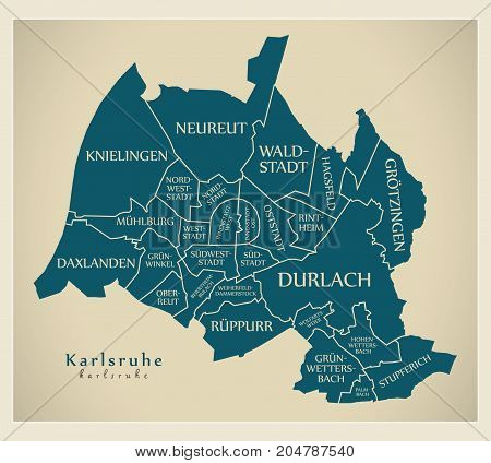 Modern City Map - Karlsruhe City Of Germany With Boroughs And Titles De