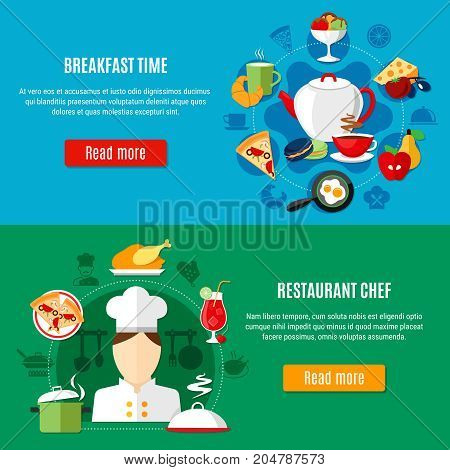 Restaurant chef kitchen utensils and menu for breakfast horizontal banners set on colorful backgrounds flat isolated vector illustration