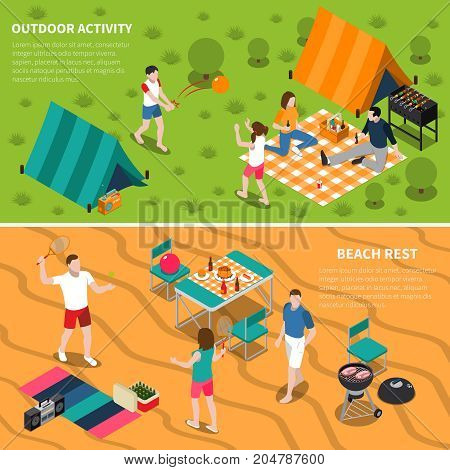 Two horizontal summer outdoor activity people banner set with outdoor activity and beach rest descriptions vector illustration