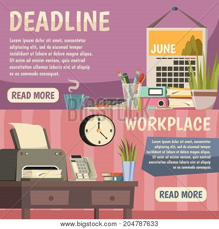 Two horizontal office orthogonal banner set deadline and workplace descriptions with read more buttons vector illustration
