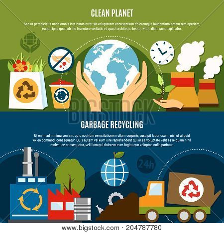 Garbage horizontal banners set with compositions of waste recycling symbols and flat icons with editable text vector illustration