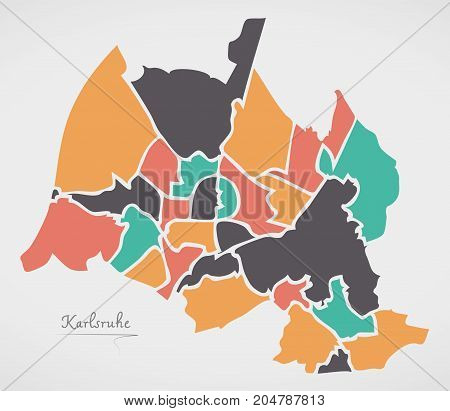Karlsruhe Map With Boroughs And Modern Round Shapes