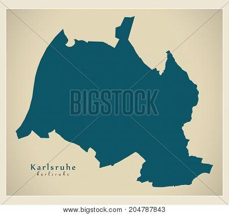 Modern Map - Karlsruhe City Of Germany De