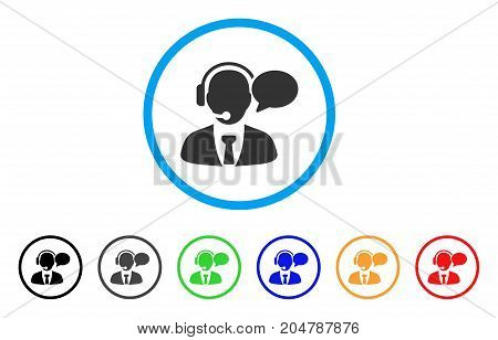 Support Manager Message rounded icon. Style is a flat support manager message grey symbol inside light blue circle with black, gray, green, blue, red, orange color versions.