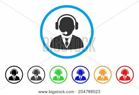 Support Manager rounded icon. Style is a flat support manager gray symbol inside light blue circle with black, gray, green, blue, red, orange variants. Vector designed for web and software interfaces.