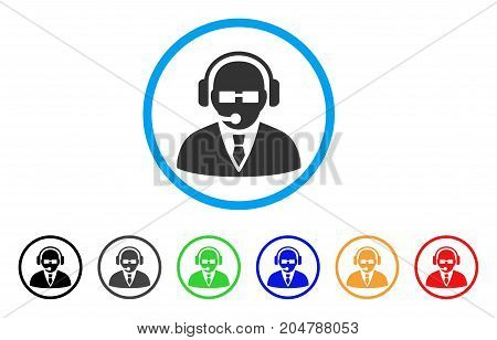 Support Manager rounded icon. Style is a flat support manager grey symbol inside light blue circle with black, gray, green, blue, red, orange color versions.