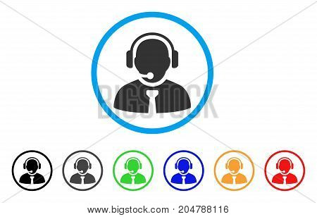 Support Manager rounded icon. Style is a flat support manager gray symbol inside light blue circle with black, gray, green, blue, red, orange color versions.