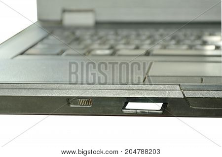 SD card put in computer notebook multimedia reader