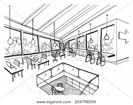 Freehand drawing of open space or coworking with large panoramic windows and comfortable furniture. Sketch of interior of modern office hand drawn in black and white colors. Vector illustration