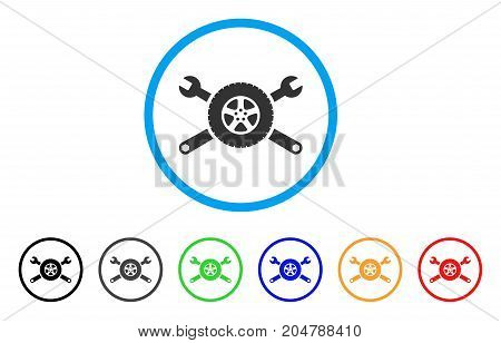 Tire Service Wrenches rounded icon. Style is a flat tire service wrenches gray symbol inside light blue circle with black, gray, green, blue, red, orange color versions.