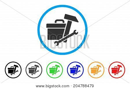Toolbox rounded icon. Style is a flat toolbox gray symbol inside light blue circle with black, gray, green, blue, red, orange versions. Vector designed for web and software interfaces.