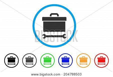 Toolbox rounded icon. Style is a flat toolbox grey symbol inside light blue circle with black, gray, green, blue, red, orange versions. Vector designed for web and software interfaces.