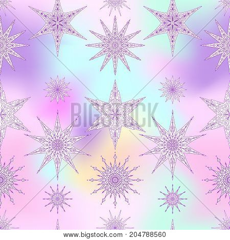 Seamless pattern, background with decorative stars. Stock line vector illustration.