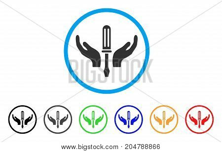 Tuning Screwdriver Maintenance rounded icon. Style is a flat tuning screwdriver maintenance gray symbol inside light blue circle with black, gray, green, blue, red, orange versions.