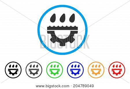 Water Gear Drops rounded icon. Style is a flat water gear drops grey symbol inside light blue circle with black, gray, green, blue, red, orange variants.