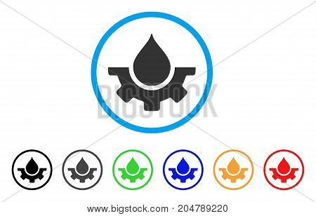 Water Service rounded icon. Style is a flat water service gray symbol inside light blue circle with black, gray, green, blue, red, orange color versions.