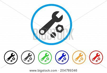 Wrench And Nuts rounded icon. Style is a flat wrench and nuts gray symbol inside light blue circle with black, gray, green, blue, red, orange color versions.