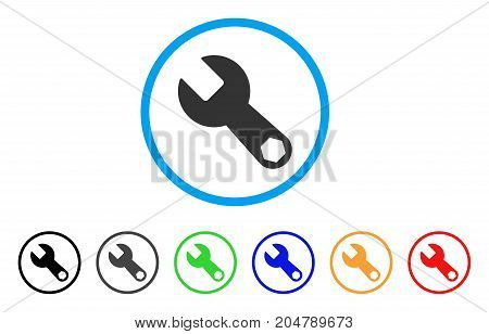 Wrench rounded icon. Style is a flat wrench gray symbol inside light blue circle with black, gray, green, blue, red, orange variants. Vector designed for web and software interfaces.