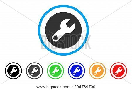 Wrench rounded icon. Style is a flat wrench grey symbol inside light blue circle with black, gray, green, blue, red, orange color versions. Vector designed for web and software interfaces.