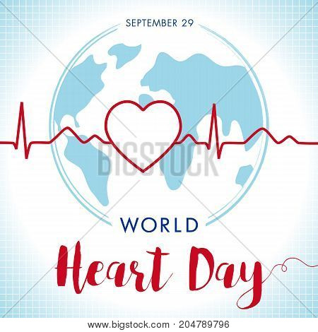 World Heart Day lettering card, line heart and cardio pulse trace on globe. Vector illustration concept World Heart Day background for banner or poster. September 29