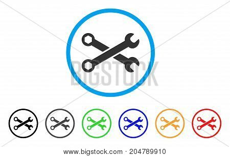 Wrenches rounded icon. Style is a flat wrenches grey symbol inside light blue circle with black, gray, green, blue, red, orange variants. Vector designed for web and software interfaces.