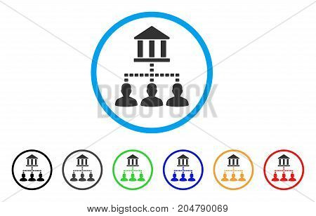 Bank Building Client Links rounded icon. Style is a flat bank building client links gray symbol inside light blue circle with black, gray, green, blue, red, orange versions.