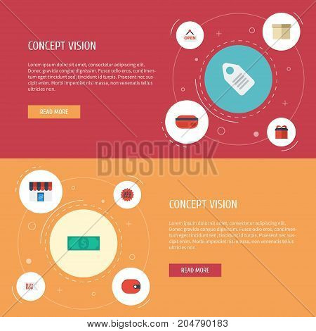 Flat Icons Label, Present, Cash And Other Vector Elements