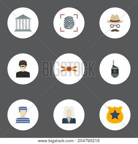 Flat Icons Building, Thumbprint, Officer Emblem And Other Vector Elements