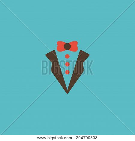 Flat Icon Groom Suit Element. Vector Illustration Of Flat Icon Bridegroom Dress Isolated On Clean Background