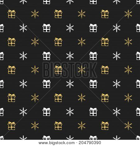 Christmas New Year seamless pattern with gift snowflakes. Holiday black background. Gold white gift. Xmas winter doodle decoration. Golden texture. Hand drawn vector illustration. Wrapping gift paper