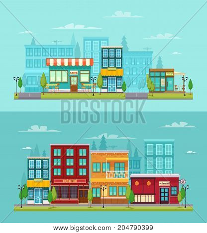 City street view 2 flat horizontal banners set with bistro restaurant bar and cafe isolated vector illustration