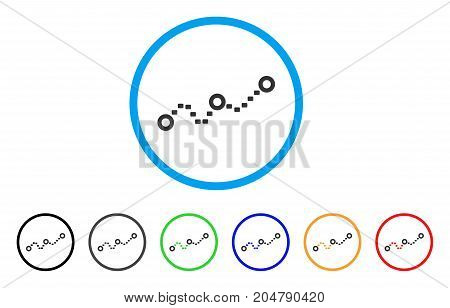 Dotted Chart rounded icon. Style is a flat dotted chart grey symbol inside light blue circle with black, gray, green, blue, red, orange color versions. Vector designed for web and software interfaces.