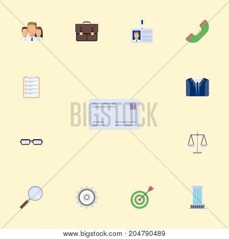 Flat Icons Magnifier, Telephone, Cogwheel And Other Vector Elements
