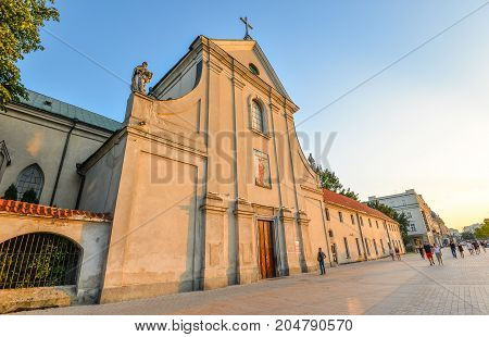 Lublin, Poland - August 11, 2017: Ancient Capuchin church of St. Peter and St. Paul, Lublin, Poland. Church and monastery of the capuchin order in Lublin. Old town and city center of Lublin, Poland