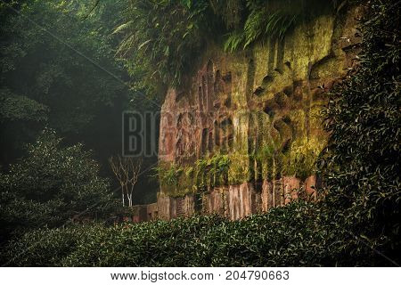 Picturesque area Leshan Grand Buddha. A famous historical place in Leshan, Sichuan, China.Chinese letters are stamped on a rock. Chinese characters on the rock.