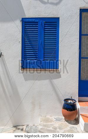 Typical White Mediterranean House, With Blue Door, In The Village Of Cadaques, On The Costa Brava Of