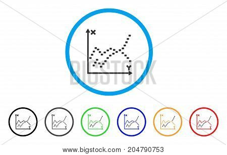 Dotted Functions Plot rounded icon. Style is a flat dotted functions plot gray symbol inside light blue circle with black, gray, green, blue, red, orange versions.