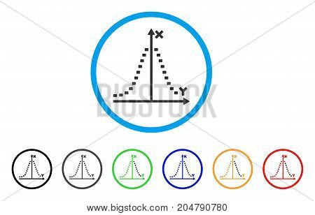 Dotted Gauss Plot rounded icon. Style is a flat dotted gauss plot grey symbol inside light blue circle with black, gray, green, blue, red, orange versions.