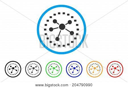 Dotted Links Diagram rounded icon. Style is a flat dotted links diagram grey symbol inside light blue circle with black, gray, green, blue, red, orange variants.