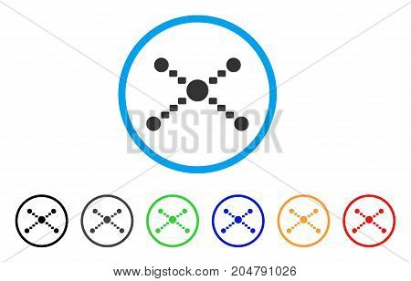 Dotted Links rounded icon. Style is a flat dotted links gray symbol inside light blue circle with black, gray, green, blue, red, orange versions. Vector designed for web and software interfaces.