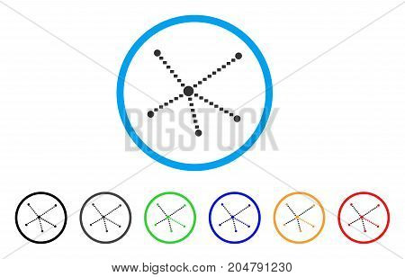 Dotted Relations rounded icon. Style is a flat dotted relations gray symbol inside light blue circle with black, gray, green, blue, red, orange variants.