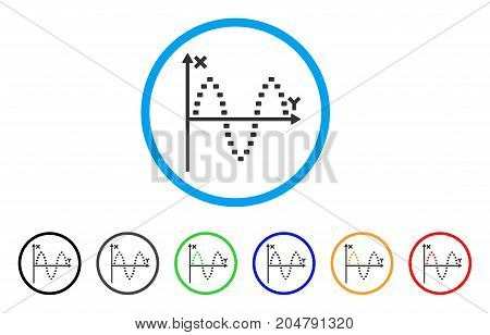 Dotted Sinusoid Plot rounded icon. Style is a flat dotted sinusoid plot grey symbol inside light blue circle with black, gray, green, blue, red, orange versions.