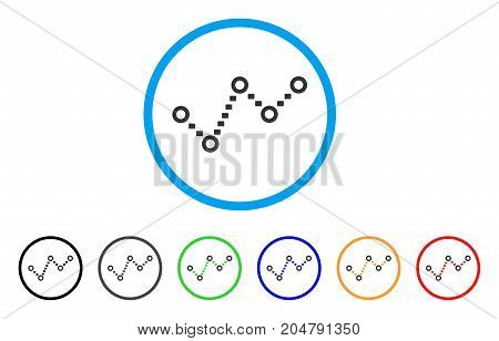 Dotted Trend rounded icon. Style is a flat dotted trend gray symbol inside light blue circle with black, gray, green, blue, red, orange versions. Vector designed for web and software interfaces.