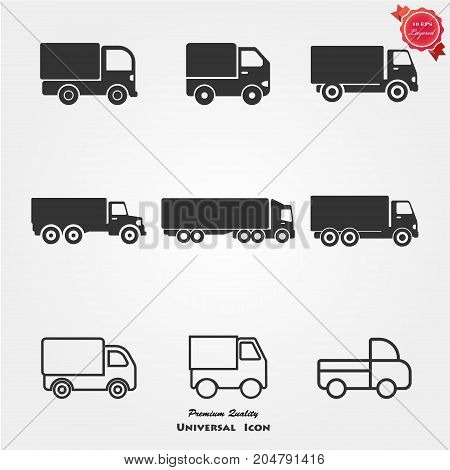 Truck icons vector illustration. Delivery truck auto