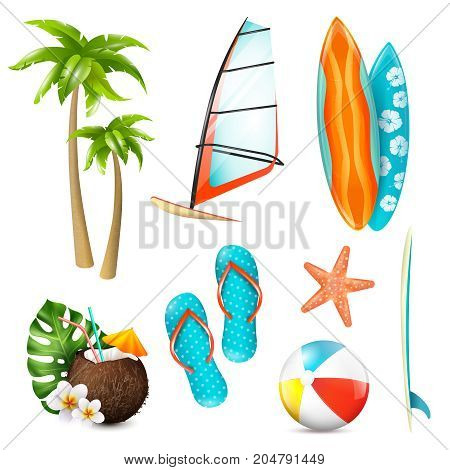 Summer surf vacation essentials colorful icons set with gear palms starfish fresh coconut cocktail isolated vector illustration