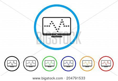 Monitor Dotted Pulse rounded icon. Style is a flat monitor dotted pulse gray symbol inside light blue circle with black, gray, green, blue, red, orange color versions.
