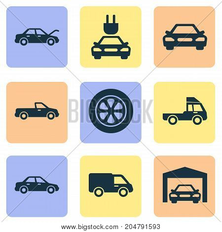 Auto Icons Set. Collection Of Plug, Wheel, Repairing And Other Elements