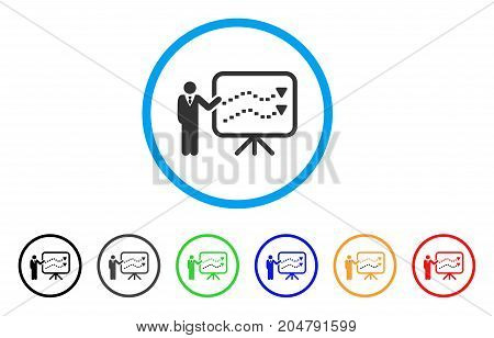 Trends Presentation Teacher rounded icon. Style is a flat trends presentation teacher gray symbol inside light blue circle with black, gray, green, blue, red, orange variants.