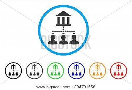 Bank Building Client Links rounded icon. Style is a flat bank building client links gray symbol inside light blue circle with black, gray, green, blue, red, orange color versions.