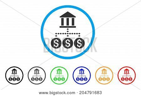 Bank Structure rounded icon. Style is a flat bank structure gray symbol inside light blue circle with black, gray, green, blue, red, orange variants. Vector designed for web and software interfaces.